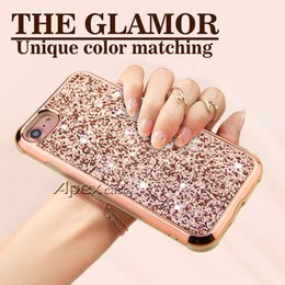Wholesale plastic x - The Glamor 2 in 1 Slim Hybrid Glitter Case For iPhone X 8 7 6 6S Plus Samsung S9 Plus