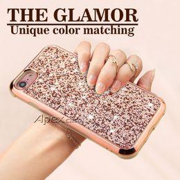 Wholesale blue hybrid - The Glamor 2 in 1 Slim Hybrid Glitter Case For iPhone X 8 7 6 6S Plus Samsung S9 Plus