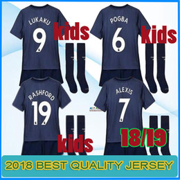 Wholesale united kids - 2018 2019 Lukaku ALEXIS man KIDS KIT Soccer Jersey UnITed Blue MARTIAL POGBA boys camiseta de futbol Customize football shirts