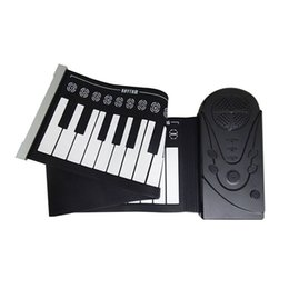 2019 mikrofone kinder großhandel Neue 49 Tastatur Schwarz Anfänger Praxis Spieler Musikinstrument ABS + silikagel Weiche Tragbare Klapp Klavier Geschenk kinder Spielzeug