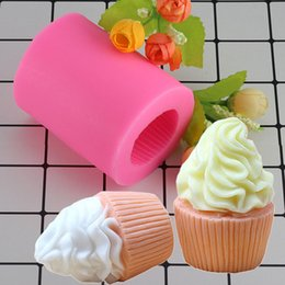 Fimo lehmformen online-Großhandel 3D Cupcake Form Seife Silikon Formen Kerze Fimo Tonform Fondant Kuchen Dekorieren Tools Eis Candy Schokoladenform