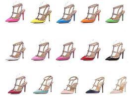 Wholesale High Heels Size 43 - New fashion v brand Rivets pumps high heels shoes Genuine leather Wedding Shoes 6cm 8cm 10cm Heel Woman's High-heeled shoes size EUR 34-43