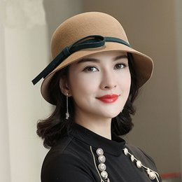 762683c2da4 Female Autumn And Winter Party Formal Fedora Hat Woman Fashion Bowknot  Bucket Hats Lady Banquet Pure Wool Felt Hat