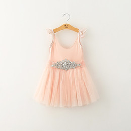 Wholesale Diamond Sashes - Baby girls Sequin Tulle dress 2018 suspender Children Lace Net yarn princess dresses Kids Bright diamond belt Ball Gown 4 colors C3820
