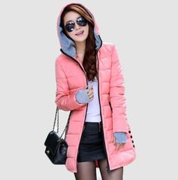 Wholesale Ladies Grey Down Winter Coat - Women'S Hooded Cotton-Padded Jacket Winter Medium-Long Cotton Coat Plus Size Down Jacket Female Slim Ladies Jackets Coats BL1215