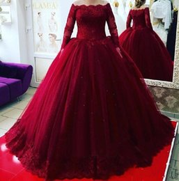 2287c60fa18 Vintage Burgundy Africa Quinceanera Dress Bateau Illusion Long Sleeve  Corset Masquerade Ball Gown Prom Formal Evening Prom Wear Vestido