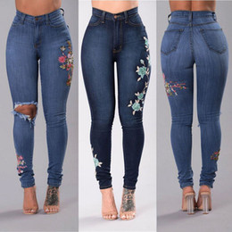 Wholesale Vintage Plaid Pants Women - New Slim Stretch High Waist Skinny Jeans Female Scratch Worn Feet Vintage Pencil Pants Women Jeans Plus Size S-2XL
