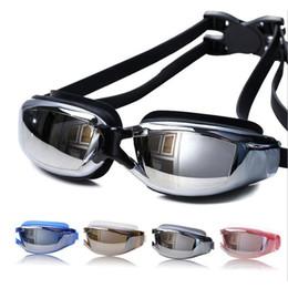 occhiali blu rossi adulti Sconti Pro Adulto Impermeabile Anti-Fog UV Protect Occhialini da nuoto Occhiali da ginocchia Occhialini da nuoto prodotti da esterno sport acquatici