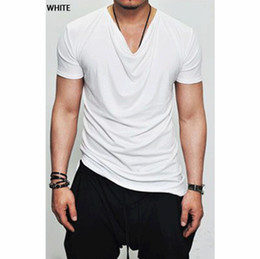 Wholesale shirt folding - Summer New Mens Draped Tee Round Neck Simple Slim Solid Color Short Sleeved T-shirt Fold Tops For Men