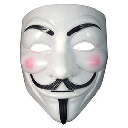 Vestido blanco para hombres online-Nueva llegada Vendetta máscara máscara anónima de Guy Fawkes Disfraz de disfraces de Halloween blanco amarillo 2 colores Envío gratis