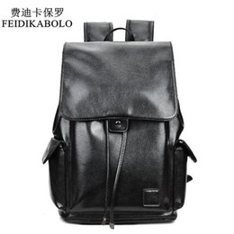 Wholesale College Backpacks Men - FEIDIKABOLO Famous Brand Boys Black Bags Leather School Backpack Bag For College Simple Design Men Casual Daypacks Mochila Male