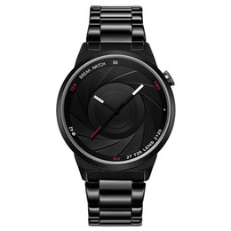 Wholesale Photographer Camera - Men Luxurious Quartz Watch black stainless steel strap military Watches Camera shutter shape Waterproof Photographer series wristwatch