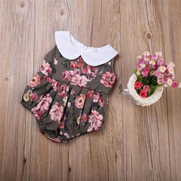 Wholesale Chinese Outfits - Infant Kids Baby Girl Floral Sleeveless Bodysuit Romper Peony Chinese Flower Jumpsuit Round Collar Sunsuit Outfit Clothes 0-24M Kid Clothing