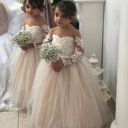 Wholesale princess gowns for children - Cute Long Sleeves Flower Girls Dresses For Weddings Sheer Neck Lace Tulle Floor Length Ball Gown Princess Children Birthday Party Dresses