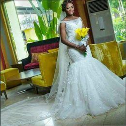Wholesale Silver Bridal Flats - African Plus Size Mermaid Bridal Gowns Flat Shouders Lace Floor Length Wedding Dresses Custom Made Zipper Back Wedding Vestidos