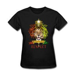 Menina, amarela, camisa, desenho on-line-T das mulheres Rei Leão Logo Design Rastafari Respeito Womens Gift's Camiseta Art T Shirt Fazendo Menina Amarelo Tee Tops