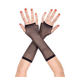 luvas de luva sem dedos Desconto Novo 1 Par 70 s 80 s Fishnet Luvas Lace Fingerless Comprimento das Mulheres Dança Traje Disco
