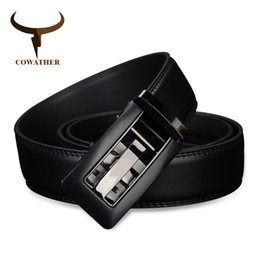 fbab464156a COWATHER 2017 Automatic Buckle cow Genuine Leather men Belts strap for male  Fashion casual Brand cinto masculino CZ024