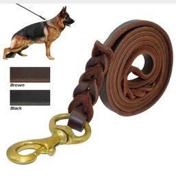 Wholesale German Cartoons - Braided Real Leather Dog Leash K9 Walking Training Leads for German Shepherd 1.2cm width