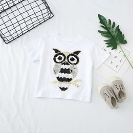 Wholesale owl t - kids clothing girl boy Kids 100% Cotton Short Sleeve paillette owl Heart shape T shirt boys causal summer t shirt