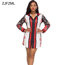 7d96d1fabf6 ZJFZML Women Plus Size Shirt Dress Fashion Print Long Sleeve Sexy Mini  Dress Elegant Autumn Button Up Tunic Casual Loose