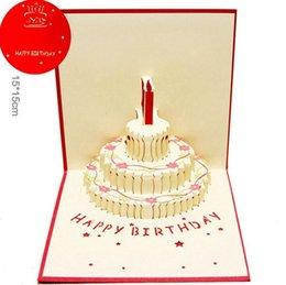 2019 animação de desenho animado de casamento Novo 3D Pop Up bolo de Aniversário Cartões Com Envelope Laser Cut Cartão Postal Para decoração de festa de Aniversário para crianças