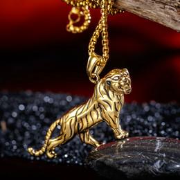 Кабель тигра онлайн-Ожерелье из нержавеющей стали 316L Мужские ювелирные изделия ожерелья животных Аксессуары Cable Chain Punk Стиль Tiger Design человека