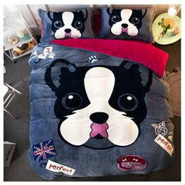 Wholesale Black White Red Bedspread - 4pcs Bedding Sets Flannel Winter Thickening Plush Duvet Animal Bed Set Bedspreads Bed Sheet Pillow Cases Soft and Warm
