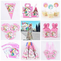 Wholesale Party Supply Kits - 141pcs Unicorn Birthday Party Set Unicorn Favor Supplies Set with Disposable Tableware Cake Toppers, Party Hanging Kit GGA108 30PCS