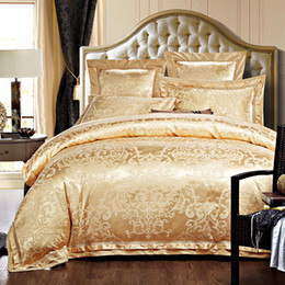 Wholesale Royal Blue Bedding - Golden Jacquard Luxury Bedding set King Queen size 4 6Pcs Silk Cotton Royal Bed set Duvet cover Bedsheet Pillowcases home
