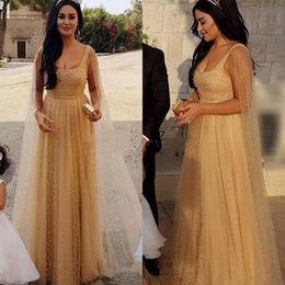 Wholesale Elegant Stunning Dress - Champagne African Prom Dresses with Wrap jacket Stunning Pearls Beads Elegant Evening Gowns for Women Tulle Celebrity Party Dress