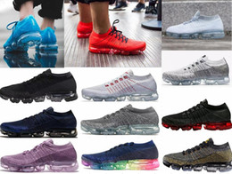 Wholesale fly women - High quality 2018 Air Men Women Running Shoes Cushion Surface Breathable Fly line Sports shoes Vapormax Sneakers size 5.5-11 Free shipping