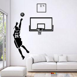 Пвх виниловые конструкции для стен онлайн-Играть баскетбол Главная наклейки Спорт дизайн палка пвх наклейки DIY виниловые наклейки на стены современного искусства фрески для гостиной