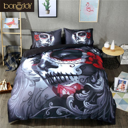 Wholesale Cartoon Bedding Queen - Bonenjoy Black Skull Bedding Set Halloween Style Bed Sheet Queen King Double Bed Linen Cotton Blend Flower Skull Duvet Cover Set