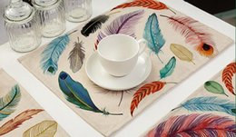 Wholesale Wood Drink Coasters - Vintage feathers placemats Colorful feathers pattern bowl cup pad drinks mat Tableware coasters 7 styles can choose