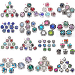 Wholesale Button Necklace Diy - 12 styles Noosa Crystal Snap Button 18mm Chunks Flower Heart Owl Ginger Snap Jewelry DIY Necklace Bracelet Accessory