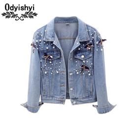 Осень короткие джинсовые куртки 2018 новых женщин мода бисером съемный декоративные три четверти джинсовое пальто женская куртка топы HS235 от