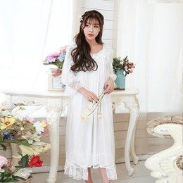 f451b6d514 2016 New Arrival White Lace Women s Long Nightgowns High Quality Vintage  Princess 2-Pics Sleepwear Sexy Nightdress 305