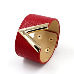 Wholesale Ms Word - whole sale2017 New Fashion Jewelry PU Leather Bracelet V Word Wide Women Wrap Bracelet Wristband Multicolor Ms Gift ZS001