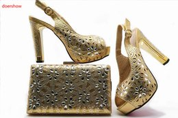 Wholesale women wedding shoes stones - Shoe and Bag Set Women Shoes and Bag Set In Italy Design Italian Shoes with Matching Bag Set with stones G49-4