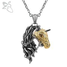 Bijoux tête de cheval en Ligne-vente en gros en acier inoxydable 316l pendentif collier de mode cheval tête pendentifs punk animaux colliers bijoux chaîne longue collier pour hommes