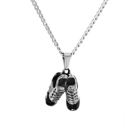 Wholesale Silver Hip Hop Shoes - Iced Out Stainless Steel Football Shoes Pendant Gold Color Punk Popular Hip Hop Rock Necklace Fashion Cuban chain For Men Women