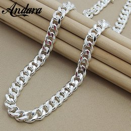 Wholesale Snake Chain Necklace Mens - Mens 22 inch 55cm 10mm Hip Hop Chain Necklace Silver Color Jewelry Statement Necklace For Party N184