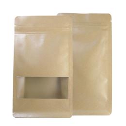 Wholesale kraft paper zipper top bags - 18x28+8cm (7x11+3in) Kraft Paper Packaging Bags Food tea coffee Paper Bag Flat bottom Zipper top Kraft paper Bag Zip Packaging
