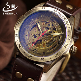 SHENHUA 2018 Vintage Skeleton Watch Men montre homme Automatic Mechanical Wrist Watches Transparent Bronze Watch Clock relogio supplier vintage от Поставщики vintage