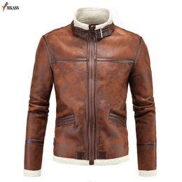 Wholesale Leather Jacket Wool Collar Men - 2018 Hot Men Winter Faux Fur Leather Coat Jacket Lamb Wool Liner Leon Outerwear Cashmere Coat Leather Jacket Fur Men 5XL