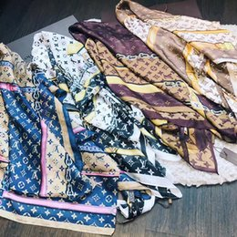 Wholesale summer shawl spring - luxury brand new summer women's scarf fashion lady silk scarves print soft shawls pashmina foulard femme long size bandana