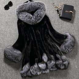 Wholesale faux fur trim jacket - 2017 3XL Fashion Faux Fur Coat Women White Gray with Fur Hat Fur Jacket Winter Jacket Women Speaker Sleeves Woman Coat