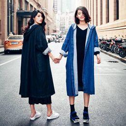 cardigan long à capuche pour femme Promotion Femmes À Capuche Denim Trench-Coat Femmes De La Mode Femme Pardessus Dames Longues Manteaux En Denim Cardigan Longs Manteau Femmes