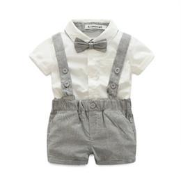 Wholesale Cheap Kids Clothing Sets - fashion kids boys clothing sets white shirt with bow +Bib shorts summer cool set wholesale cheap top quality 2018new